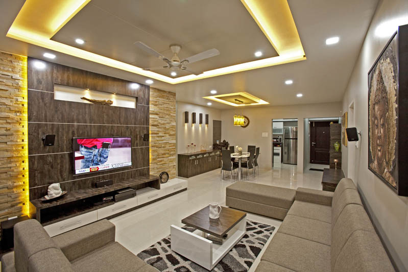 Interior Designs for Living Room, TV Room Interiors, Pune, India